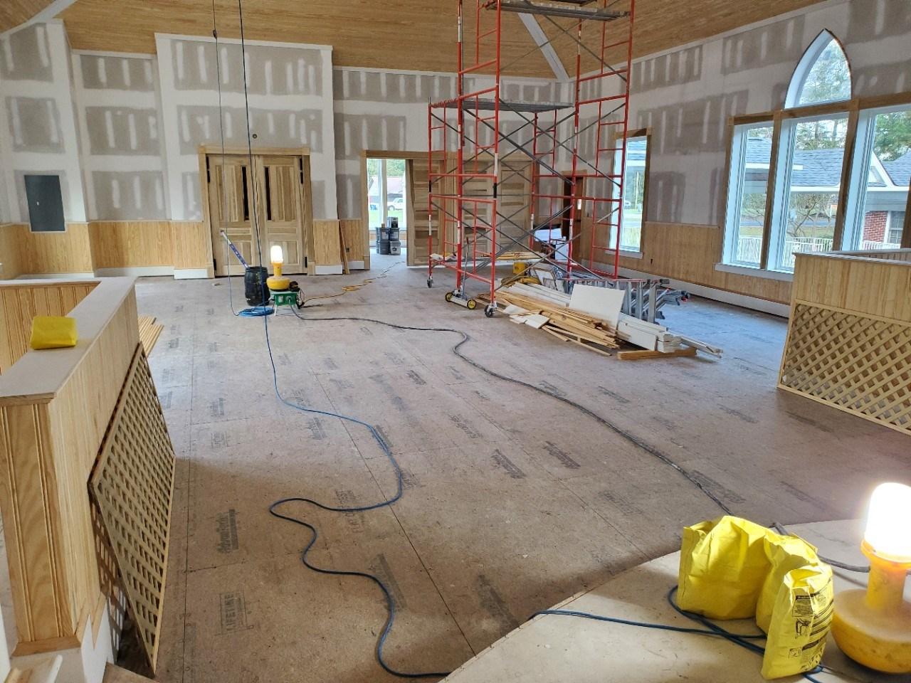 Church interior under construction