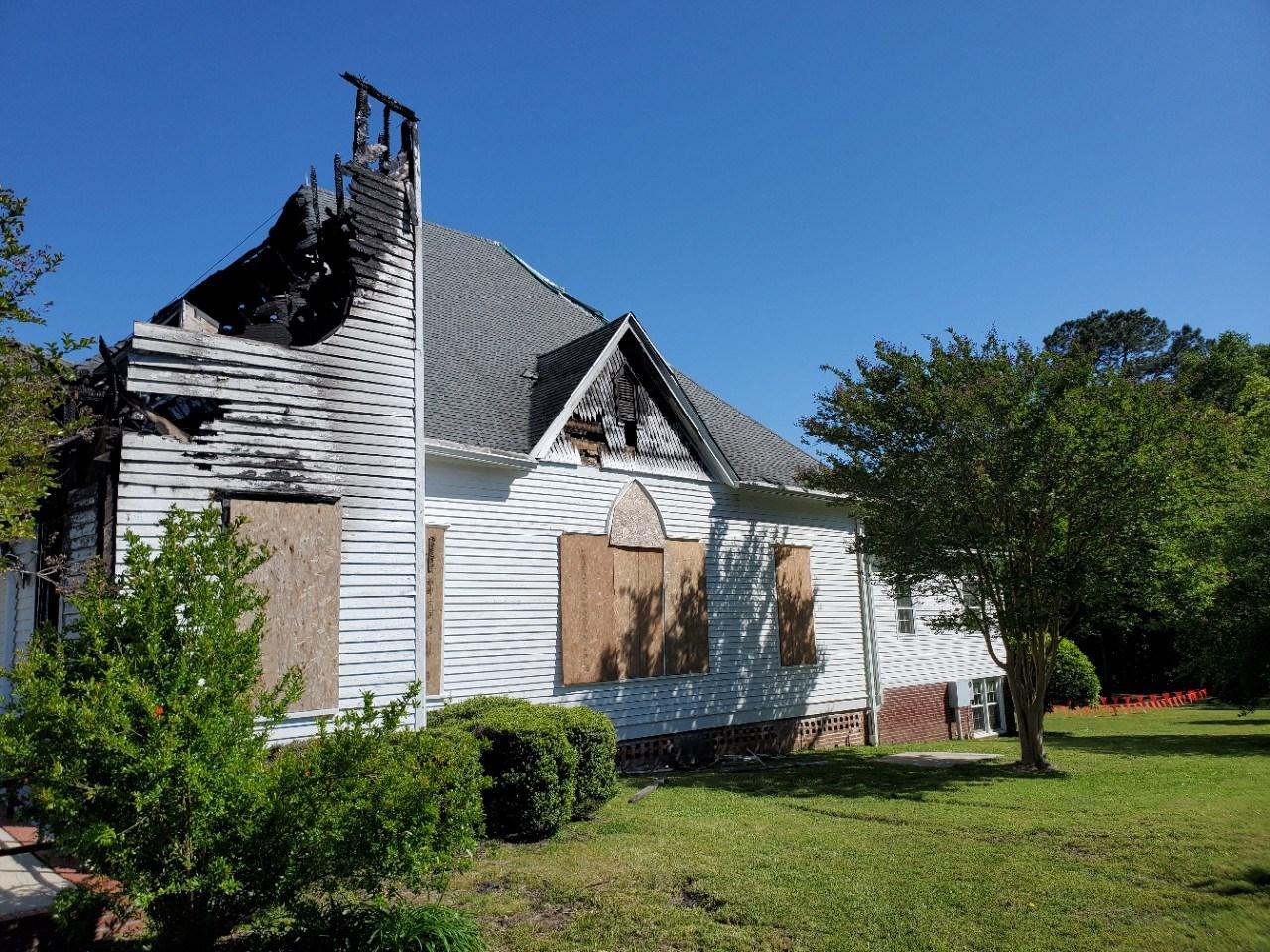 Fire-damaged church exterior