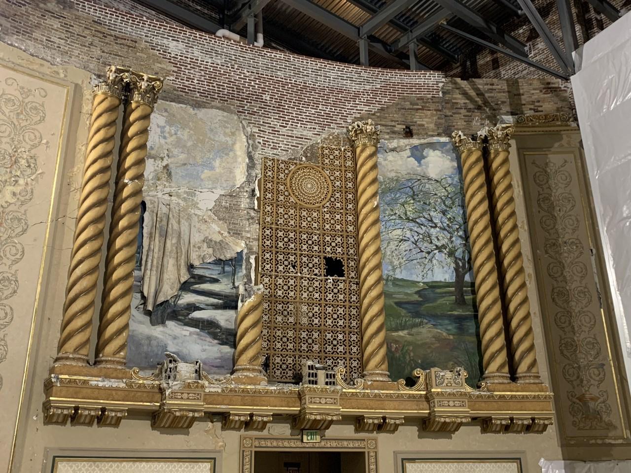 Damaged theater artwork